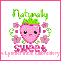 Naturally Sweet Strawberry Applique Design 4x4 5x7 6x10 7x11