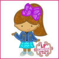 Big Bow Cutie Girl Applique Embroidery Design File 4x4 5x7 6x10