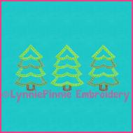 Colored Pencil Trio of Trees Applique Embroidery Design 4x4 5x7 6x10 7x11