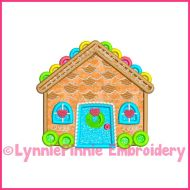 Colorful Candy Gingerbread House Applique 4x4 5x7 6x10 Machine Embroidery Digital Design File