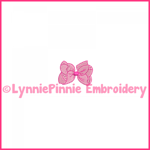 Mini Filled Stitch Bow Machine Embroidery Design File 4x4