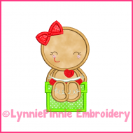 Sitting Ginger Girl Applique 4x4 5x7 6x10 Machine Embroidery Digital Design File