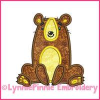 Whimsical Sitting Bear Applique 4x4 5x7 6x10 Machine Embroidery Digital Design File