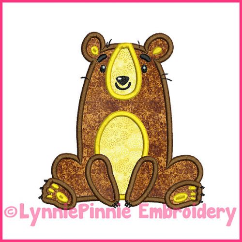 Whimsical Sitting Bear Applique 4x4 5x7 6x10 Machine Embroidery Digital Design File