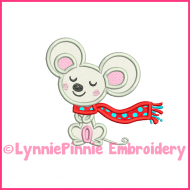 Winter Mouse Applique 4x4 5x7 6x10 Machine Embroidery Digital Design File