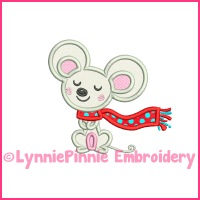 Winter Mouse Applique 4x4 5x7 6x10 Machine Embroidery Digital Design File