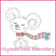 Winter Mouse Vintage ColorWork Sketch Machine Embroidery Design File 4x4 5x7 6x10 7x11