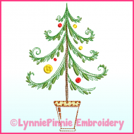 Fancy ColorWork Christmas Tree 1 Machine Embroidery Design File 4x4 5x7 6x10