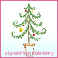 Fancy ColorWork Christmas Tree 1 Machine Embroidery Design File 4x4 5x7 6x10