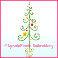 Fancy ColorWork Christmas Tree 2 Machine Embroidery Design File 4x4 5x7 6x10
