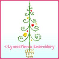 Fancy ColorWork Christmas Tree 2 Machine Embroidery Design File 4x4 5x7 6x10