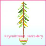 Fancy ColorWork Christmas Tree 4 Machine Embroidery Design File 4x4 5x7 6x10