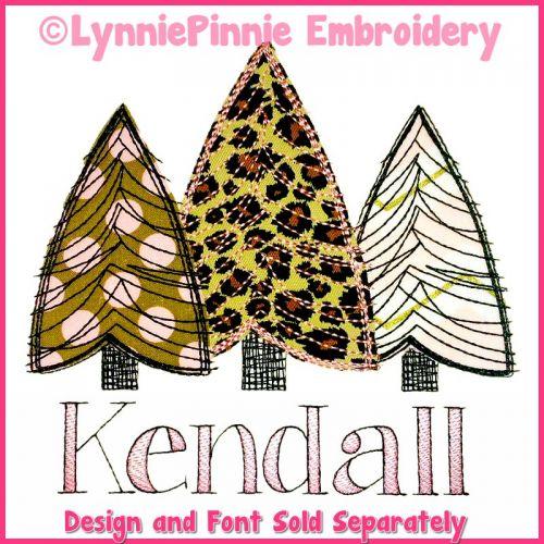 Scribble Tree Trio Applique Machine Embroidery Design File 4x4 5x7 6x10