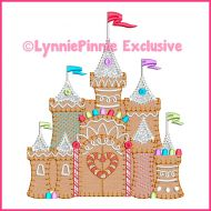 Gingerbread Candy Castle Bold Blanket Stitch Applique Machine Embroidery Design File 4x4 5x7 6x10