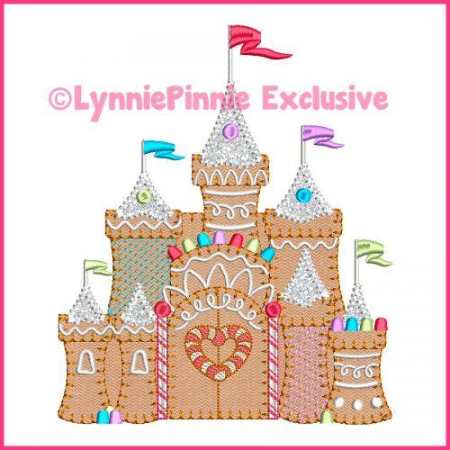 Gingerbread Candy Castle Bold Blanket Stitch Applique Machine Embroidery Design File 4x4 5x7 6x10