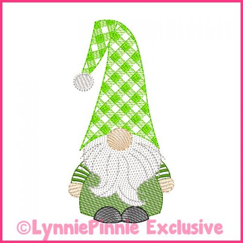 ColorWork Sketch Fill Winter Gnome Boy 1 Machine Embroidery Design File 4x4 5x7 6x10
