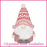 ColorWork Sketch Fill Winter Gnome Boy 2 Embroidery Design File 4x4 5x7 6x10