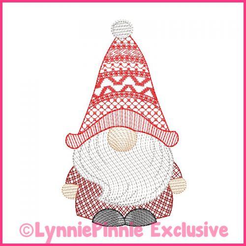 ColorWork Sketch Fill Winter Gnome Boy 2 Embroidery Design File 4x4 5x7 6x10
