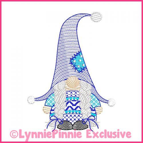 ColorWork Sketch Fill Winter Gnome Girl Machine Embroidery Design File 4x4 5x7 6x10