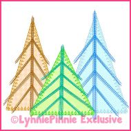 Scribble Stitch Tree Trio 2 Applique Machine Embroidery Design File 4x4 5x7 6x10