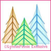 Scribble Stitch Tree Trio 2 Applique Machine Embroidery Design File 4x4 5x7 6x10