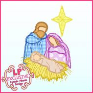 Scribble Stitch Nativity Applique Machine Embroidery Design File 4x4 5x7 6x10