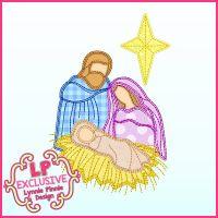 Scribble Stitch Nativity Applique Machine Embroidery Design File 4x4 5x7 6x10