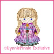 Sketch Fill New Snow Princess Machine Embroidery Design File 4x4 5x7 6x10