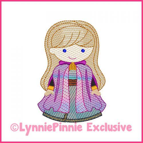 Sketch Fill New Snow Princess Machine Embroidery Design File 4x4 5x7 6x10