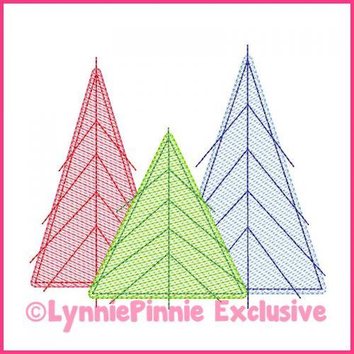 Sketch Fill Christmas Tree Trio 2 Machine Embroidery Design File 4x4 5x7 6x10