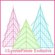 Tree Trio 2 Triple Run Stitch Applique Machine Embroidery Design File 4x4 5x7 6x10