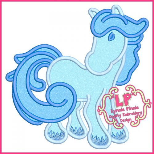 Winter Horse Applique Machine Embroidery Design File 4x4 5x7 6x10