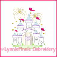 Fancy ColorWork Castle with Fireworks Embroidery Design 4x4 5x7 6x10 7x11