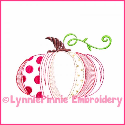 Vintage Fancy Pumpkin 1 ColorWork Sketch Embroidery Design 4x4 5x7 6x10 7x11