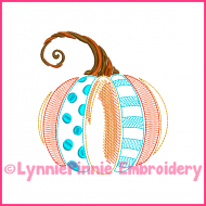 Vintage Fancy Pumpkin 2 ColorWork Sketch Embroidery Design 4x4 5x7 6x10 7x11