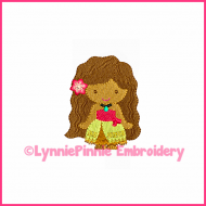 Polynesian Princess Mini Embroidery Design 4x4