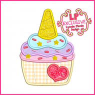 Unicorn Cupcake Applique Embroidery Design 4x4 5x7 6x10 7x11