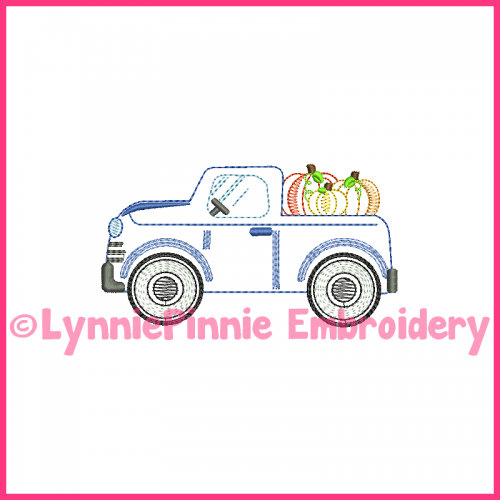 ColorWork Vintage Fall Truck with Pumpkins Embroidery Design 4x4 5x7 6x10 7x11