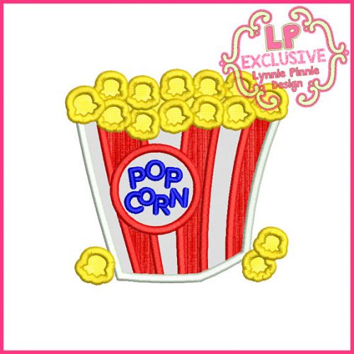 Popcorn Bucket Applique 4x4 5x7 6x10 Machine Embroidery Digital Design File