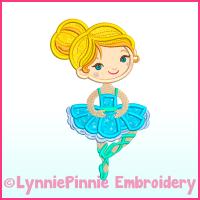 Ballerina Applique 2 Machine Embroidery Design File 4x4 5x7 6x10