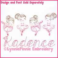 ColorWork Mini Ballerinas Sketch Machine Embroidery Design File 4x4 5x7 6x10
