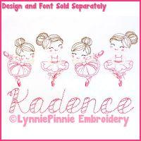 ColorWork Mini Ballerinas Sketch Machine Embroidery Design File 4x4 5x7 6x10