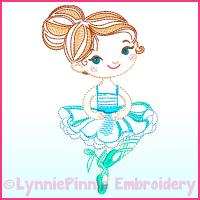 ColorWork Ballerina 2 Machine Embroidery Design File 4x4 5x7 6x10