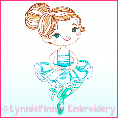 ColorWork Ballerina 2 Machine Embroidery Design File 4x4 5x7 6x10