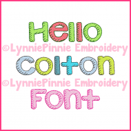 Hello Colton Sketch Fill Font with Numbers and Punctuation DIGITAL Embroidery Machine File -- 3 sizes + BX