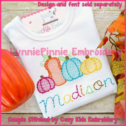 Pumpkin Patch Sketch Fill Machine Embroidery Design File 4x4 5x7 6x10