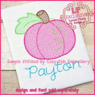 Pumpkin Sketch Fill Machine Embroidery Design File 4x4 5x7
