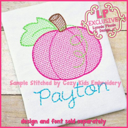 Pumpkin Sketch Fill Machine Embroidery Design File 4x4 5x7