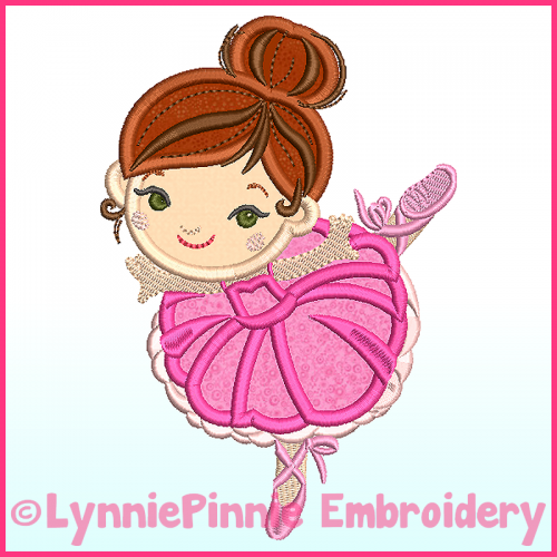 Ballerina Applique 1 Machine Embroidery Design File 4x4 5x7 6x10