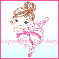 ColorWork Ballerina 1 Machine Embroidery Design File 4x4 5x7 6x10